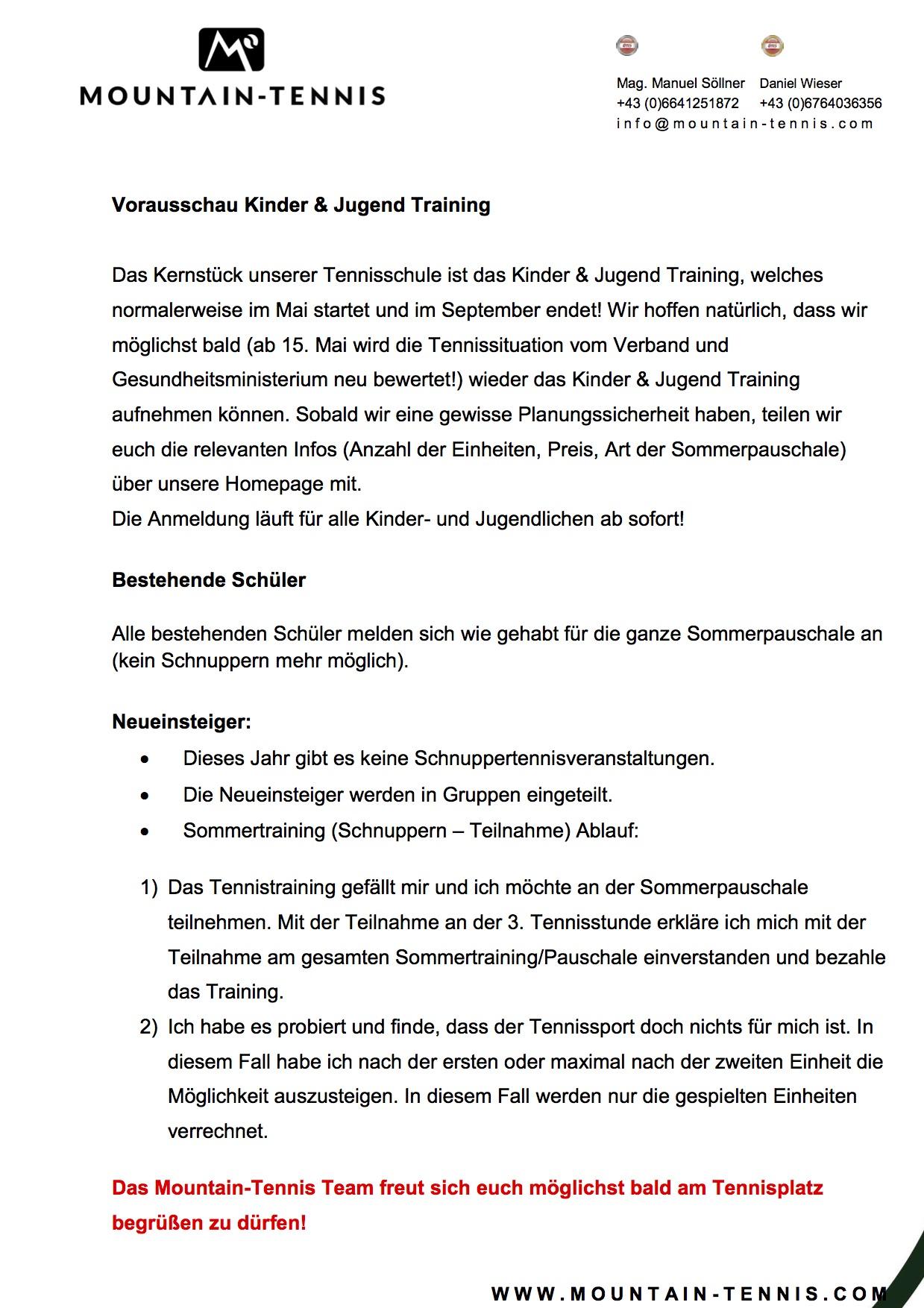 Sommertraining 2020 Kinder & Jugend